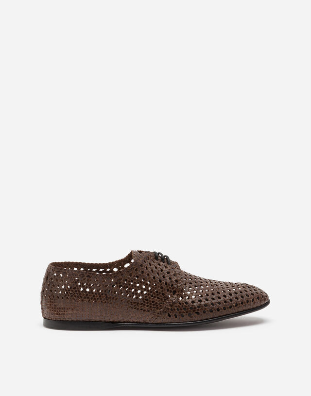 Hand-woven derby shoes in BROWN