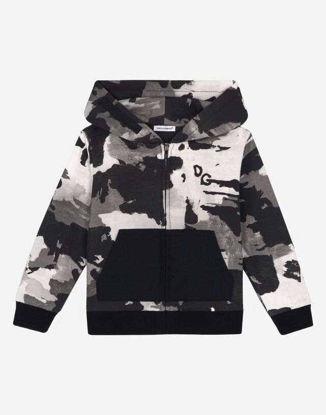 Jersey hoodie with camouflage print in Multicolor