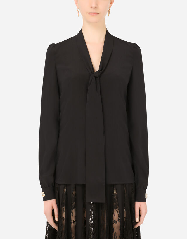 Crepe de chine pussy-bow shirt with crystal DG embellishment in Black