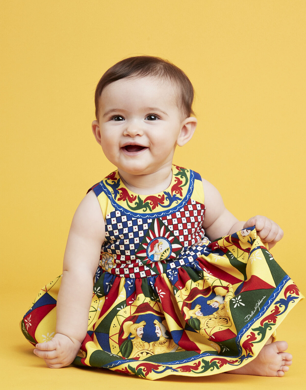 Carretto-print interlock dress