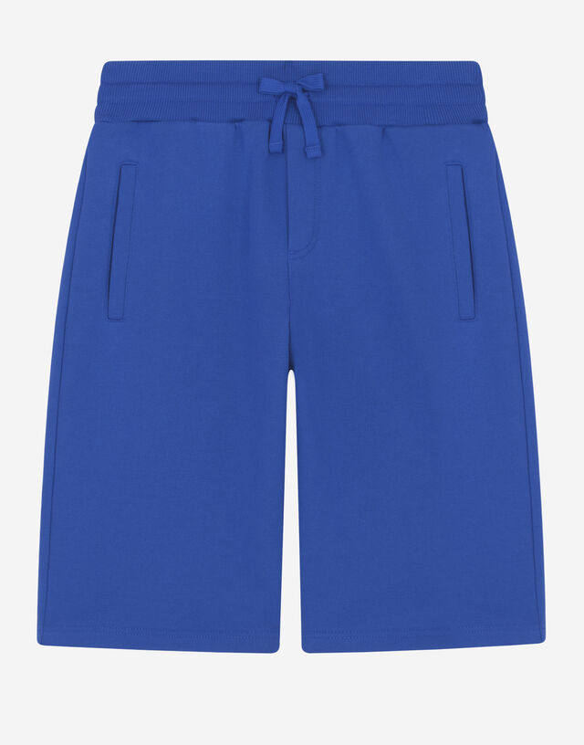 Jersey jogging shorts with logo plate in Blue