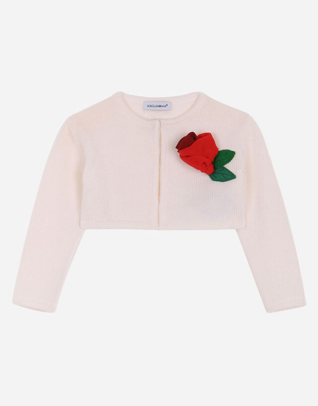 Short knit cardigan with rose patch in White