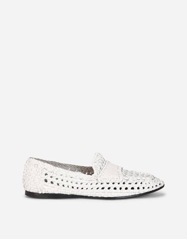 Woven goatskin slip-on shoes in WHITE