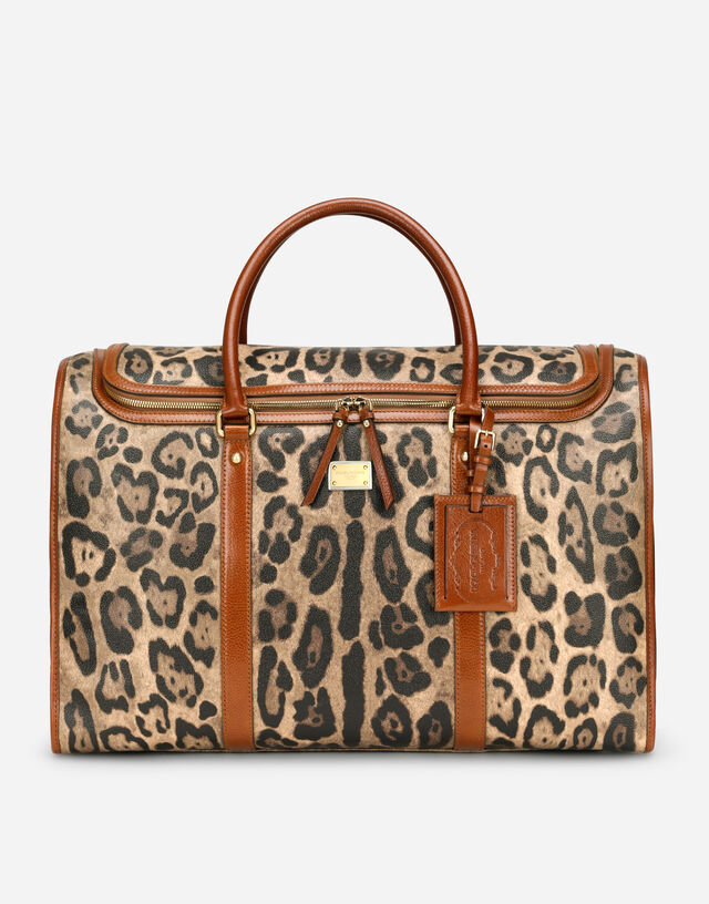 Large pet carrier bag in leopard-print Crespo with branded plate in Multicolor