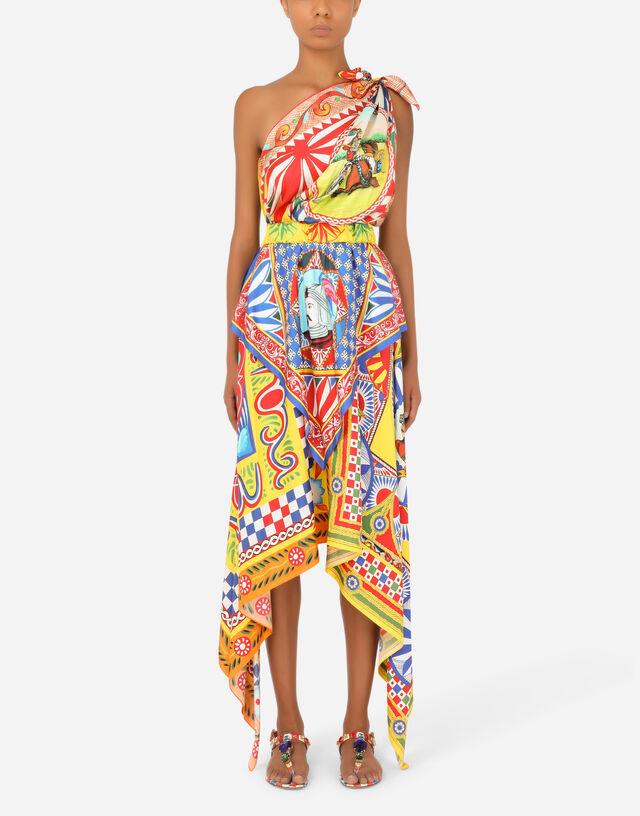 Carretto-print silk one-shoulder dress in Multicolor