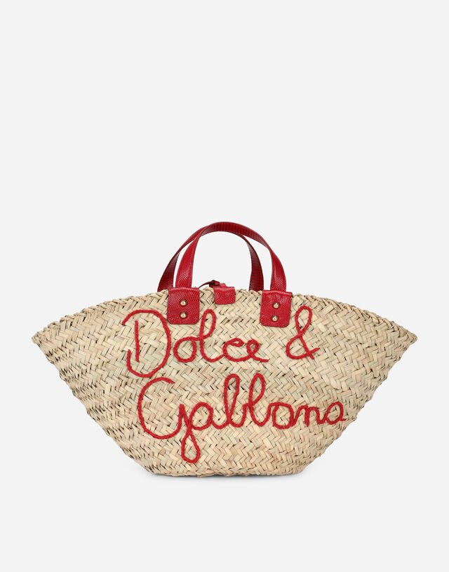 Straw Kendra bag with embroidery in Multicolor