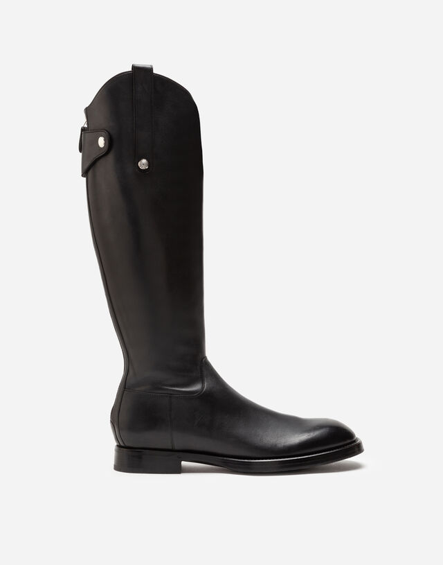 Polished calfskin boots in BLACK