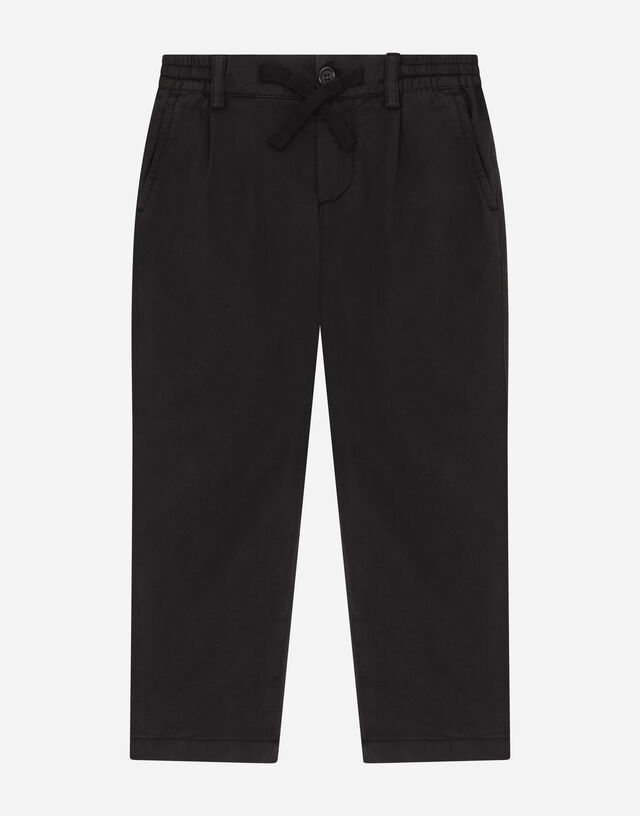 Poplin pants with embroidered logo in Black