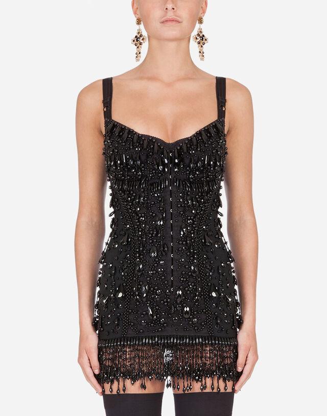 Mini dress with bead appliqués in Black