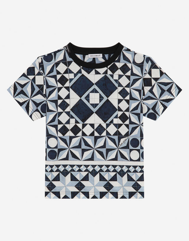 Jersey t-shirt with majolica print in Multicolor