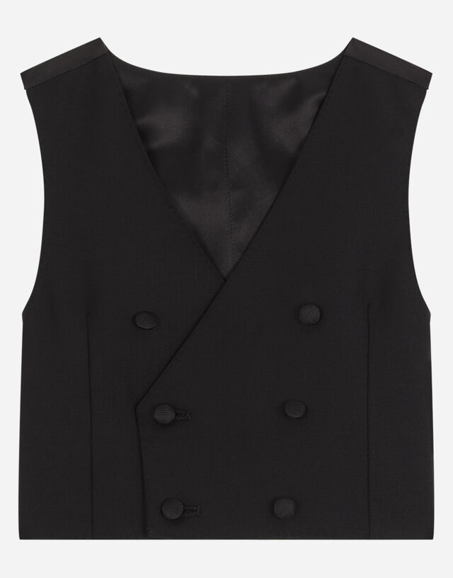 Double-breasted stretch woolen vest in Black