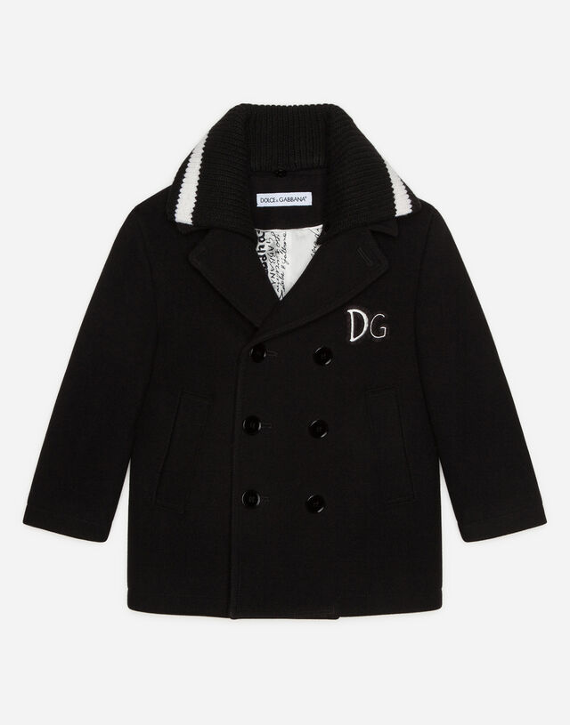 Broadcloth pea coat with DG patch in Black