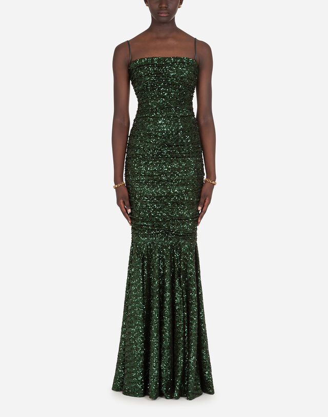 Long sequined dress in GREEN