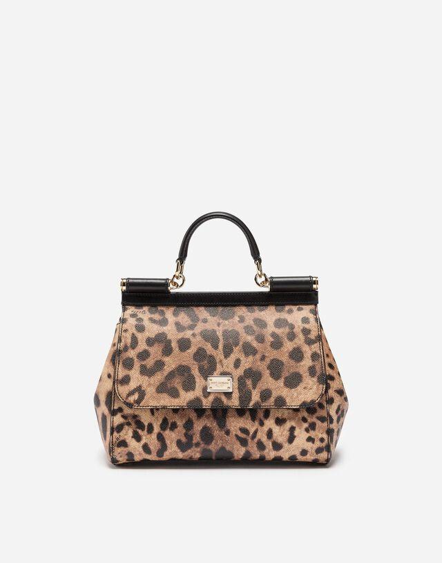 Medium Sicily handbag in dauphine leather in LEOPARD