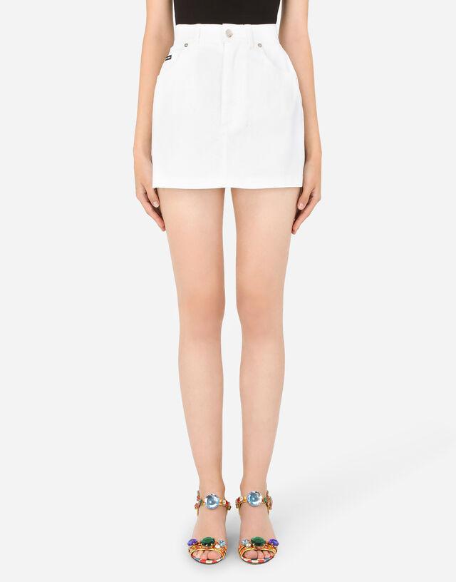 Denim mini skirt in WHITE