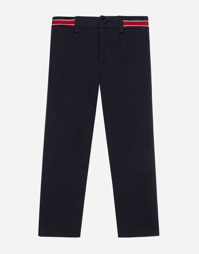 Jersey pants with jacquard logo in Blue