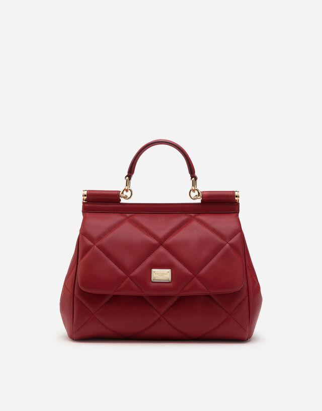 Medium Sicily bag in aria matelassé calfskin in RED