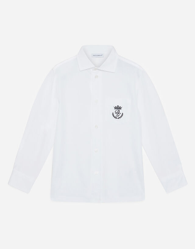 Shirt in poplin and jersey with embroidered logo in White