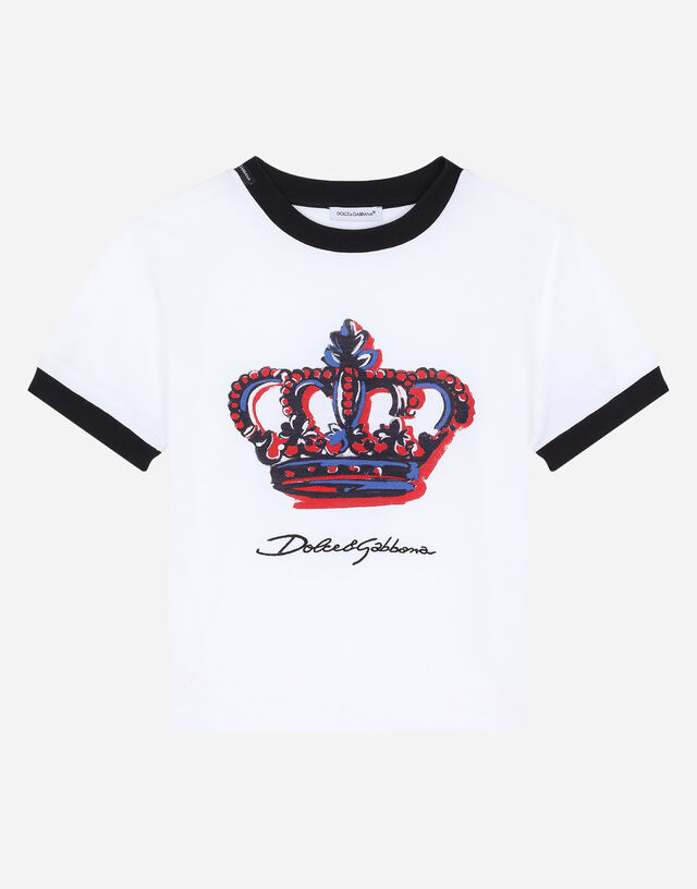 Jersey t-shirt with pictorial crown print in Multicolor