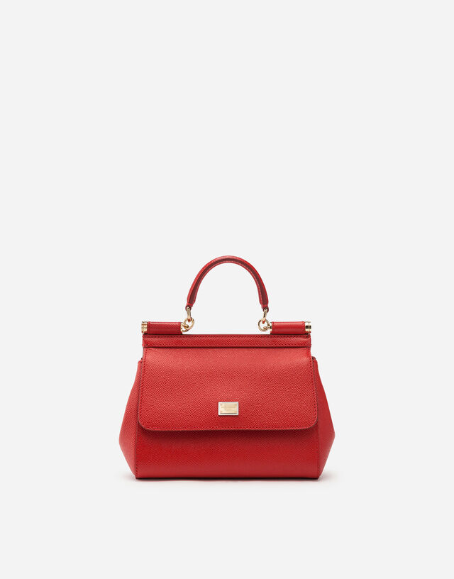 Small Sicily bag in dauphine calfskin in RED