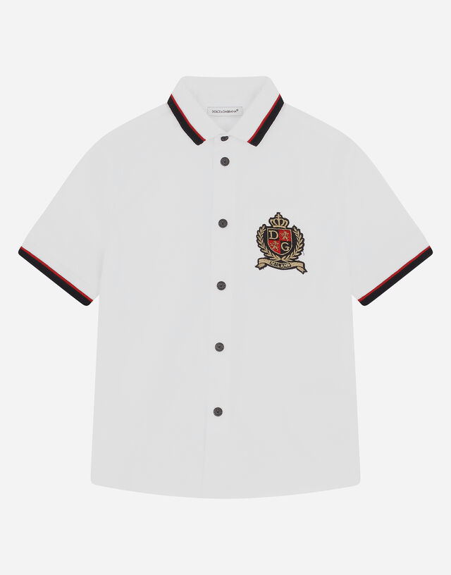 Stretch poplin shirt with DG crown patch in White