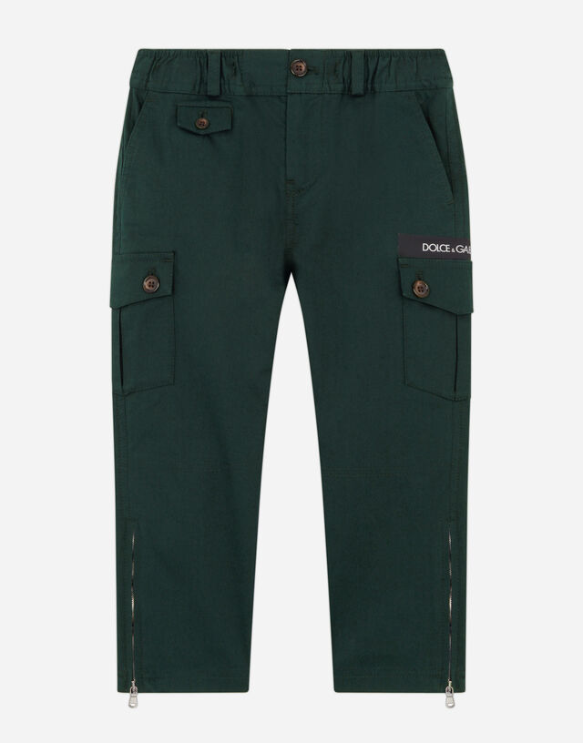 Cotton cargo pants with logo tape in Green