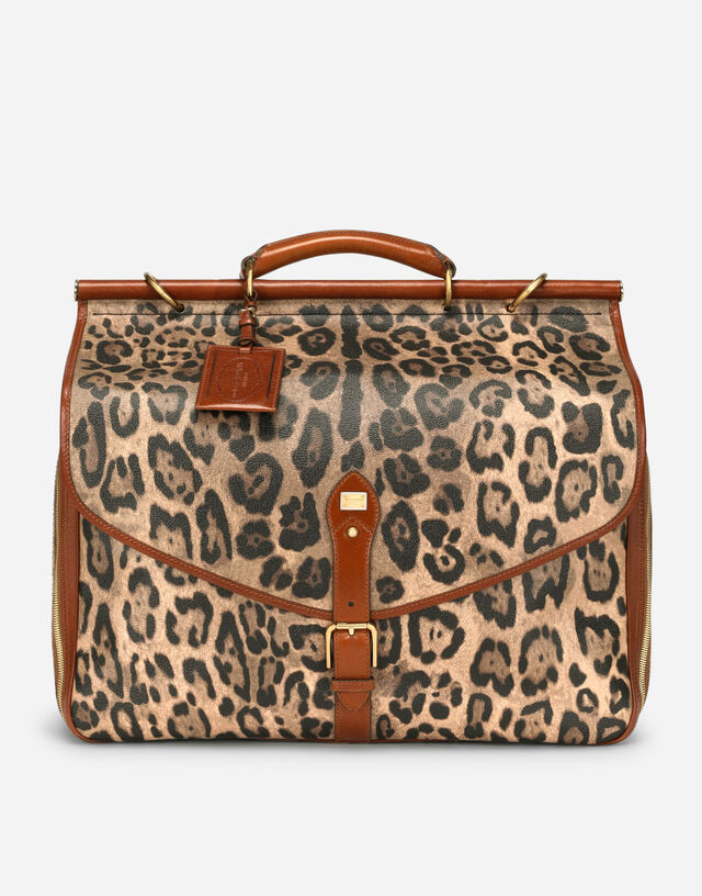 Medium travel bag in leopard-print Crespo with branded plate in Multicolor