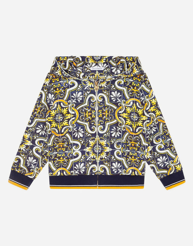 Jersey hoodie with maiolica print in Majolica Print