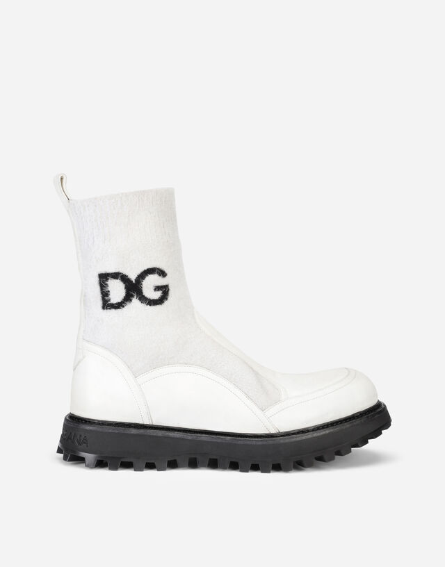 Horse calfskin ankle boots with branded sock in White