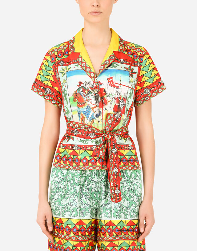 Carretto-print twill shirt with belt in Multicolor