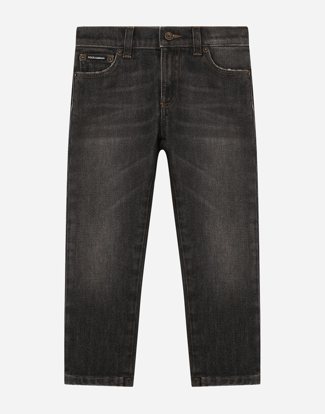 Charcoal wash slim-fit stretch jeans in Grey