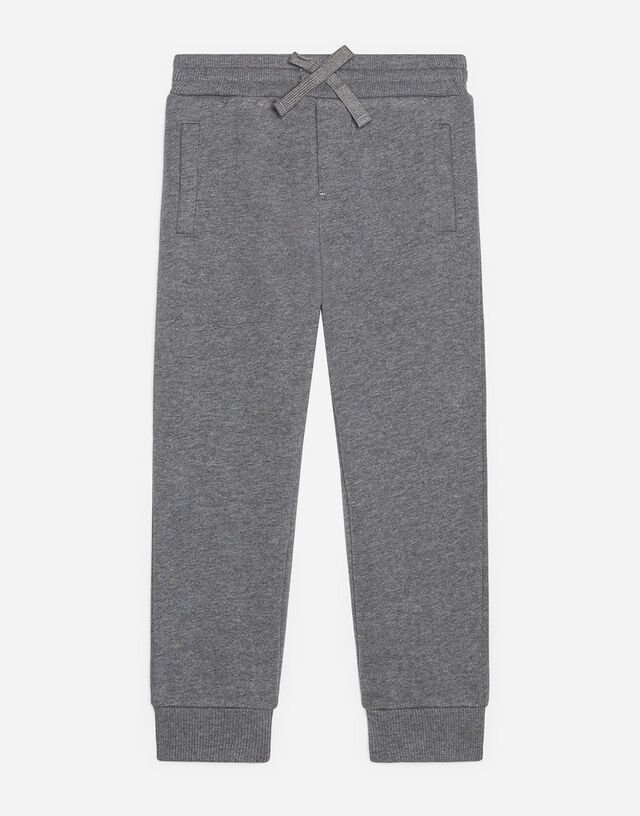 Jersey jogging pants with logo tag in Grey