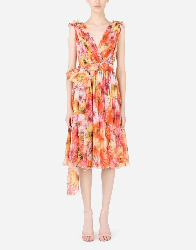 Chiffon midi dress with gerbera-daisy print in Multicolor