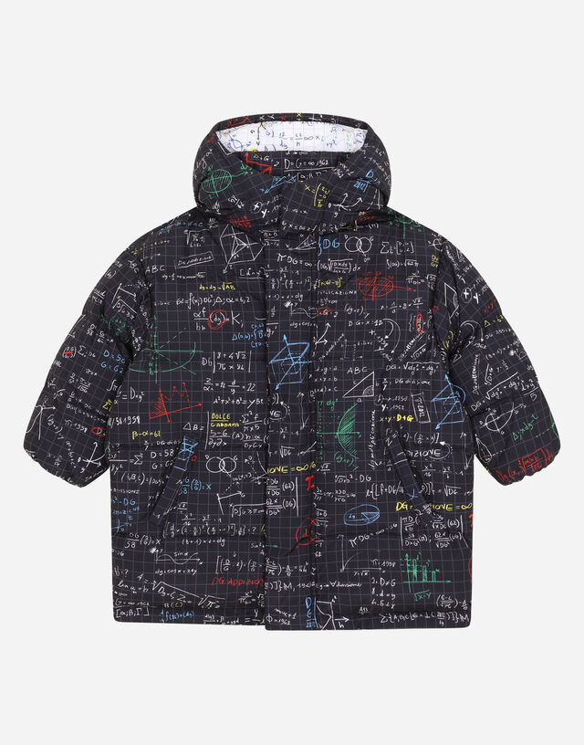 Nylon down jacket with hood and algebra print in Multicolor