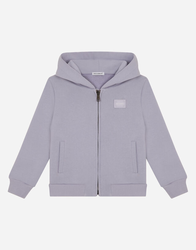 Jersey hoodie with logo tag in Wisteria