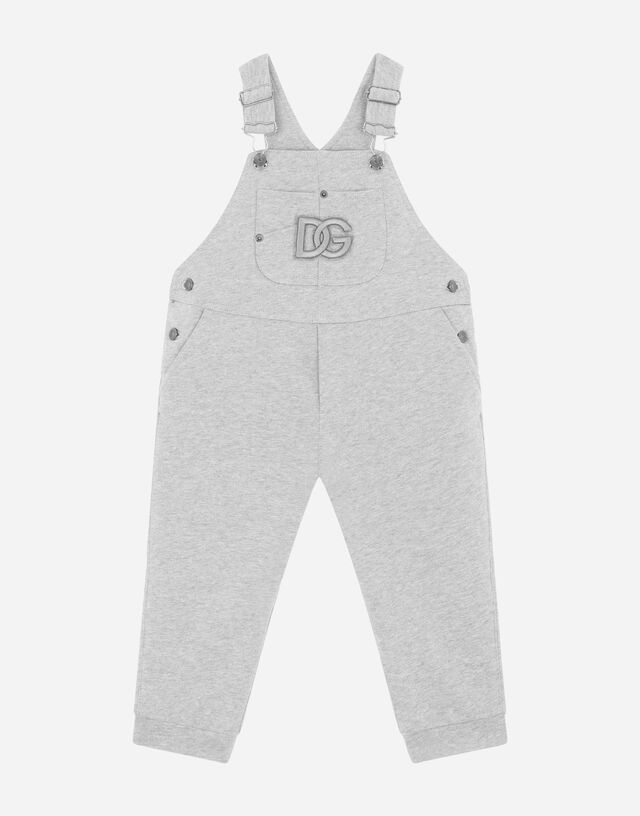 Jersey dungarees with DG logo patch in Grey