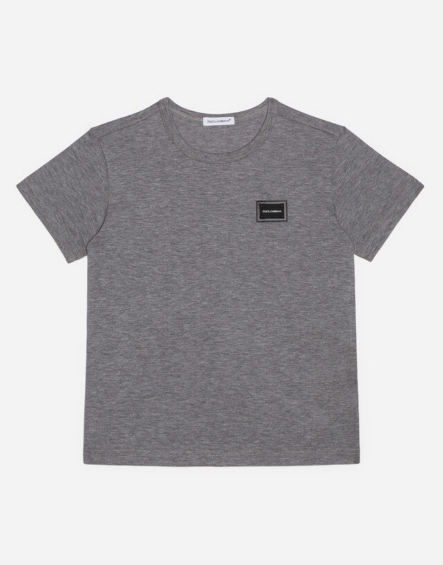 Jersey T-shirt with logo plate in Grey