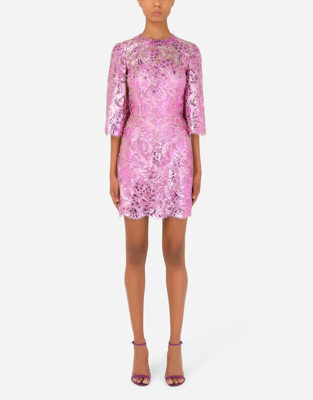 Short laminated lace dress in Fuchsia
