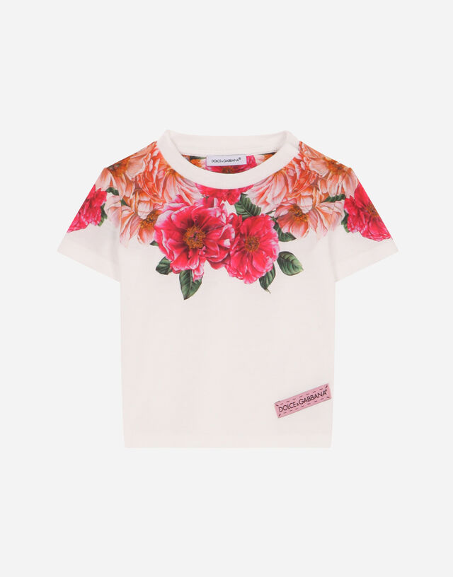 Jersey t-shirt with camellia print in Multicolor