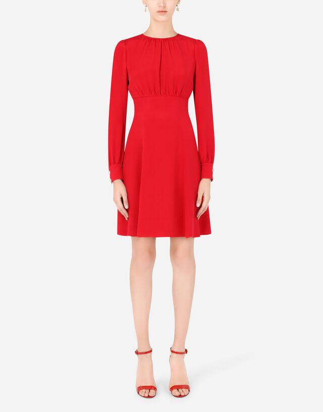 Crepe marocain midi dress with pearl DG embellishment in Red
