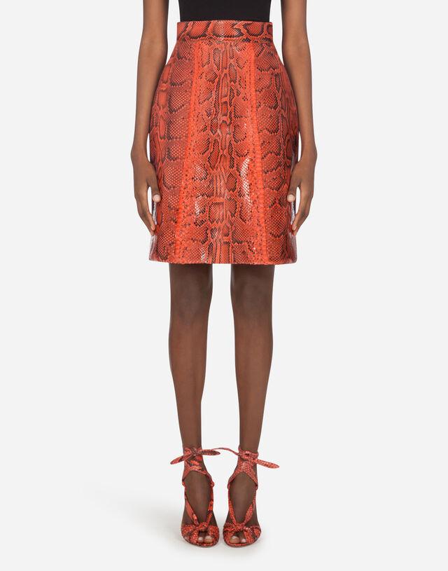 A-line midi skirt in python in Orange