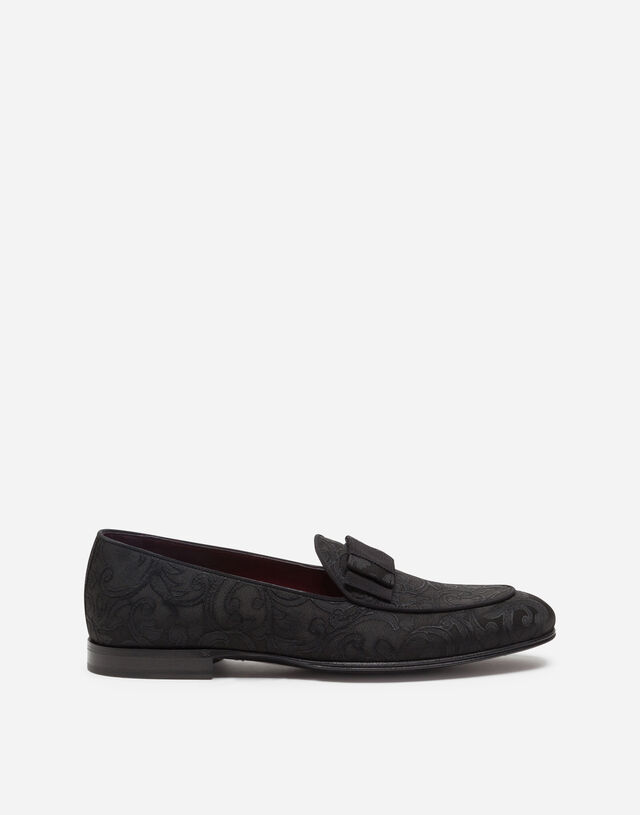 Jacquard slippers with bow-tie detail in BLACK