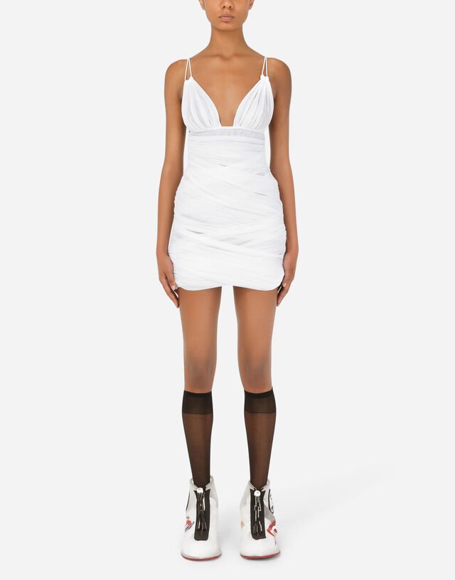 Tulle mini dress with draping in White