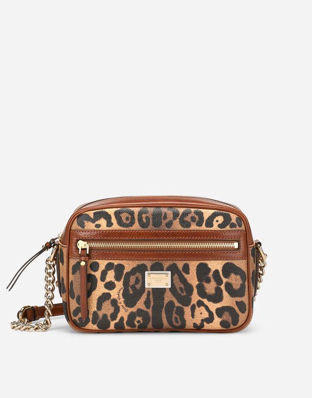 Medium crossbody bag in leopard-print Crespo with branded plate in Multicolor