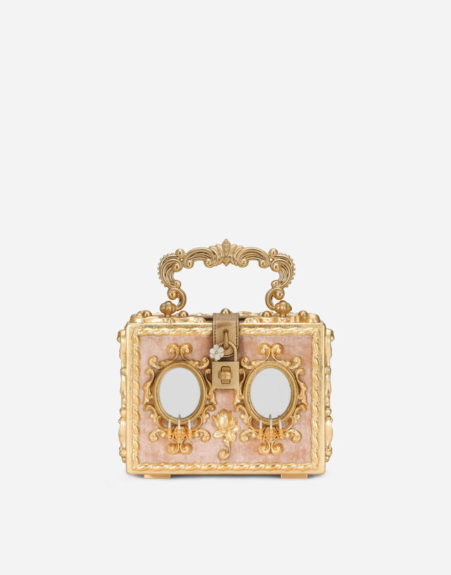 Calfskin Dolce Box bag with rhinestone and mirrored detailing in Multicolor
