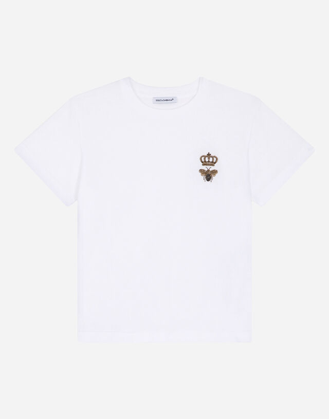 Jersey t-shirt with bee and crown embellishment in White