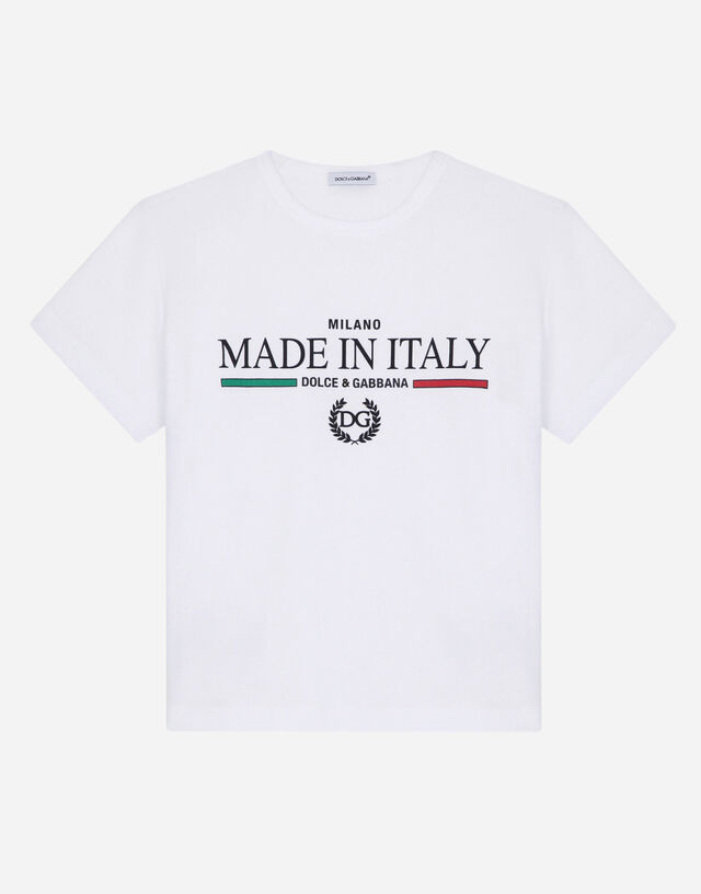 Jersey t-shirt with Made in Italy print in White