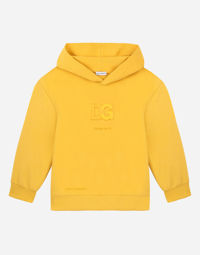 Jersey hoodie with embossed DG logo in Yellow