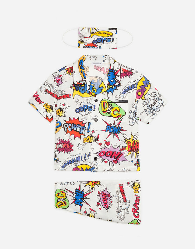 Wow-print pajama set with matching face mask in Multicolor