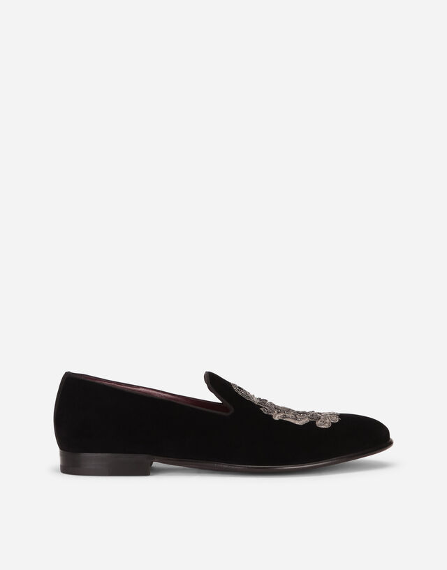 Velvet slip-on shoes with DG coat of arms embroidery  in BLACK/SILVER